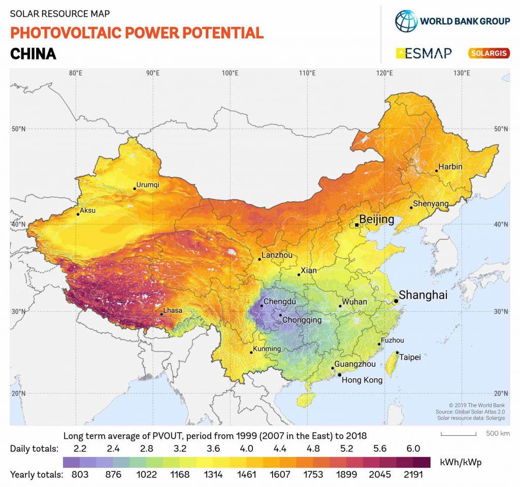 پتاسیل انرژی خورشیدی در مناطق مختلف کشور چین